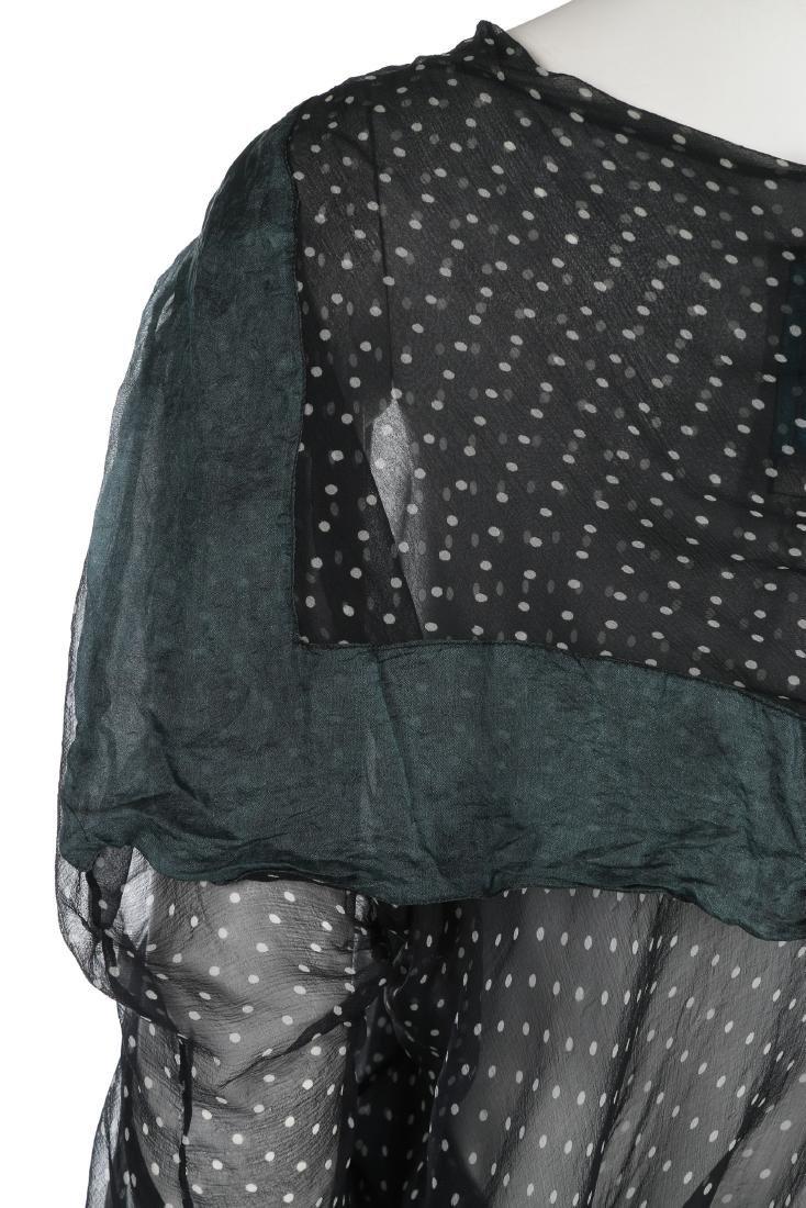 A John Galliano 'Circle Cut' polka dot chiffon blouse, - 4