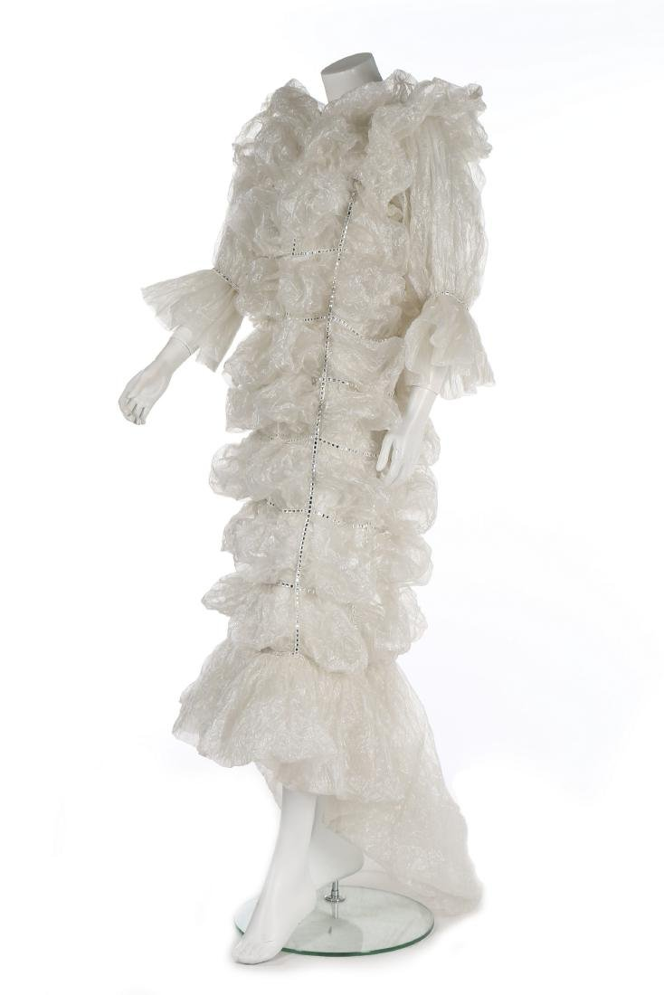 An unusual Paco Rabanne bubbled polyester gauze wedding