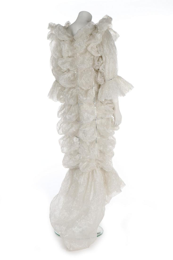 An unusual Paco Rabanne bubbled polyester gauze wedding - 3