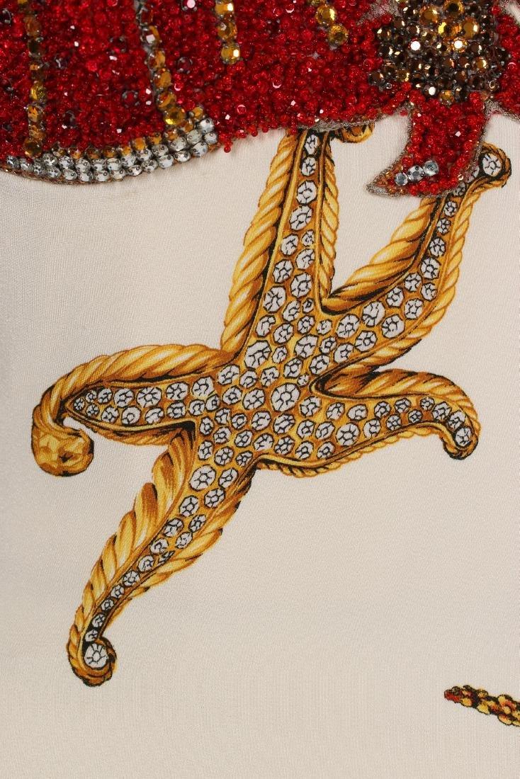 A rare Gianni Versace printed silk and beaded 'Sea - 6