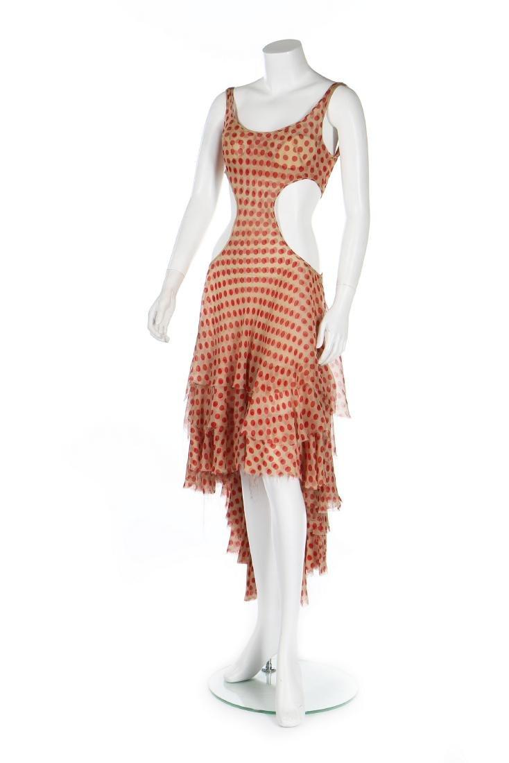 An Alexander McQueen red polka-dot chiffon dress,