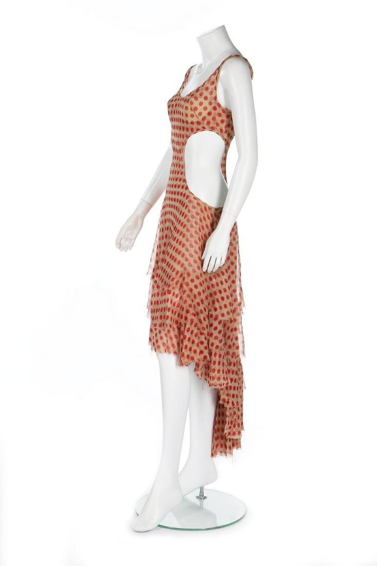 An Alexander McQueen red polka-dot chiffon dress, - 2