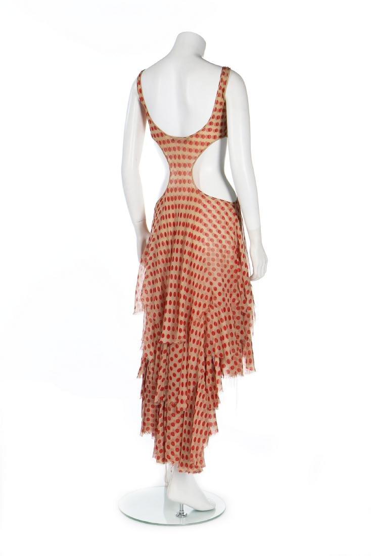 An Alexander McQueen red polka-dot chiffon dress, - 3