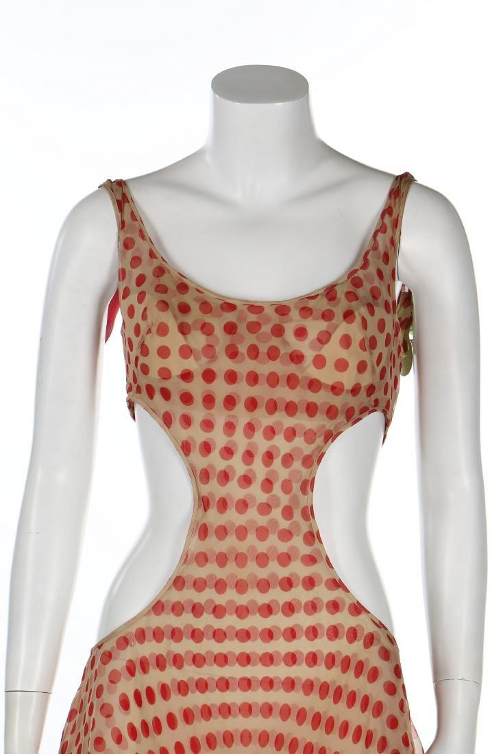 An Alexander McQueen red polka-dot chiffon dress, - 4