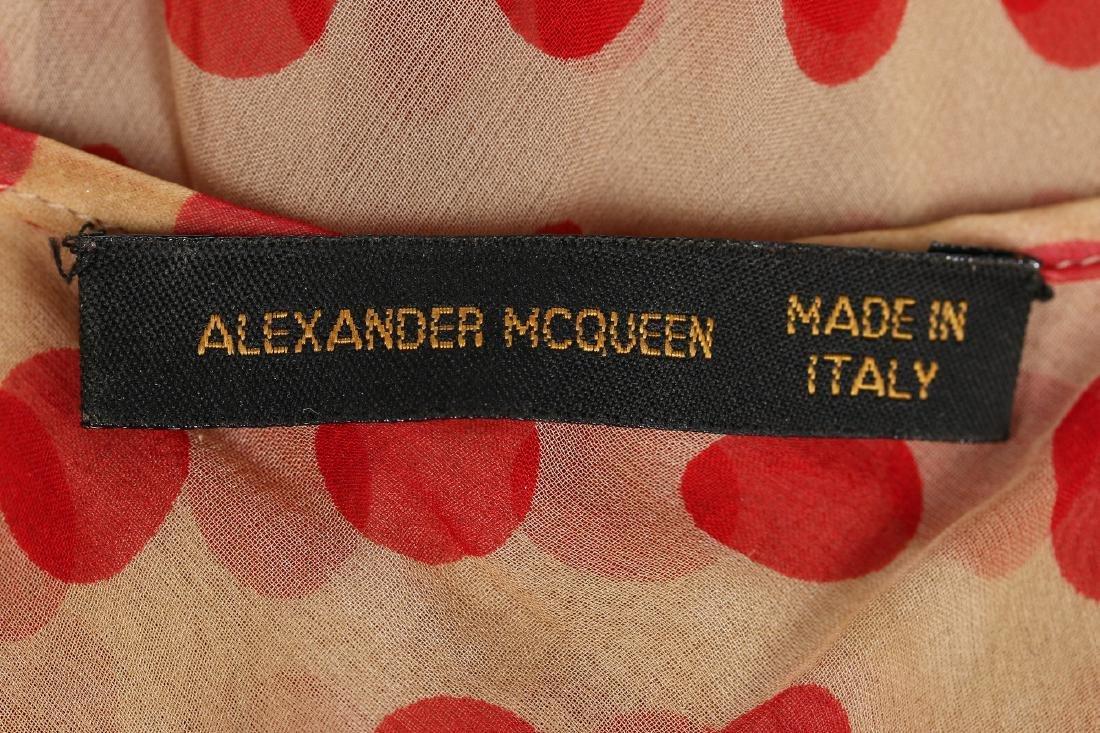 An Alexander McQueen red polka-dot chiffon dress, - 8