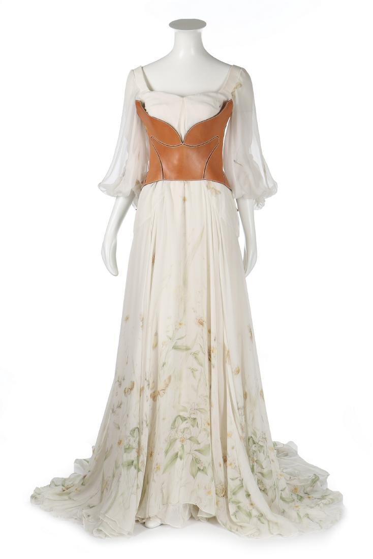 An Alexander McQueen romantic white chiffon gown,
