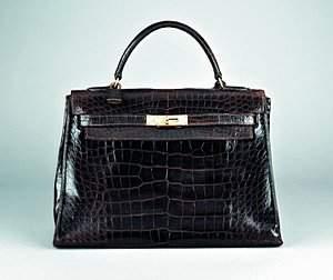 An Hermès chocolate brown crocodile leather Kelly ba