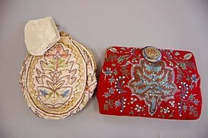 7: Two evening bags, 1930s, the first of red silk paint