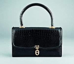 An Hermès black crocodile handbag, pre 1970, stamped