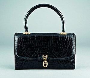 8: An Hermès black crocodile handbag, pre 1970, stamped