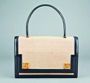 An Hermès canvas and black leather `Piano' handbag,