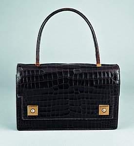 .An Hermès dark brown crocodile `Piano' handbag, c