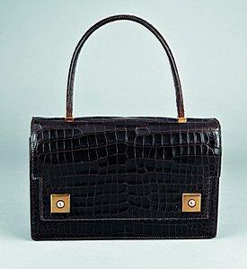 13: .An Hermès dark brown crocodile  `Piano' handbag, c