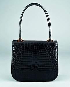An Asprey black crocodile handbag, circa 1970, stam