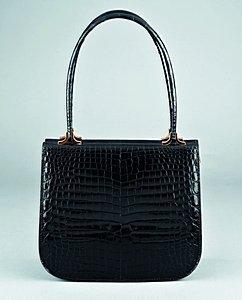 16: An Asprey black crocodile handbag, circa 1970, stam