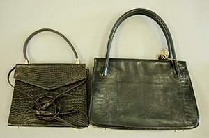 A René Mancini chocolate crocodile handbag, late 19