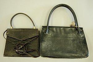 19: A René Mancini chocolate crocodile handbag, late 19