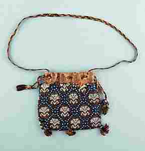 A beadworked bag, English, circa 1630, worked with