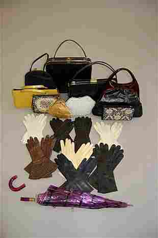 1007: A group of accessories 1930s-60s, including leath