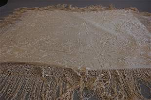 1011: An embroidered Cantonese shawl, circa 1900, ivory
