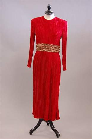 1021: A Mary McFadden red pleated silk evening gown, mi