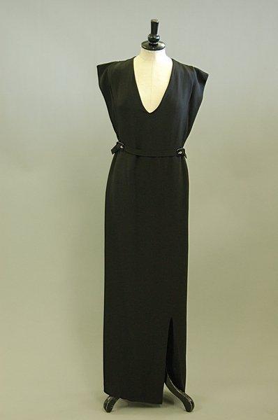 1022: A Courreges black crêpe de chine evening gown, la