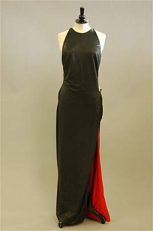 1023: A Gianni Versace black and red slinky wet-look ev