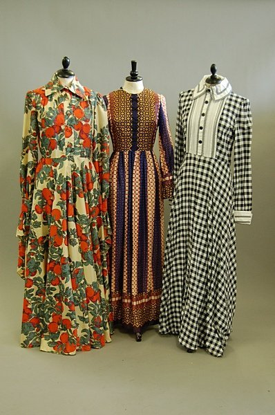 1024: Three Jean Varon full-length gowns, 1970s, all la