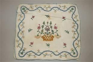 An embroidered muslin pillow cover, English circa