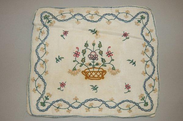 2001: An embroidered muslin pillow cover, English circa