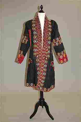 A Tekke young girl's coat (chyrpe) of black silk,