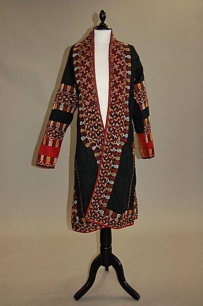 2005: A Tekke young girl's coat (chyrpe) of black silk,