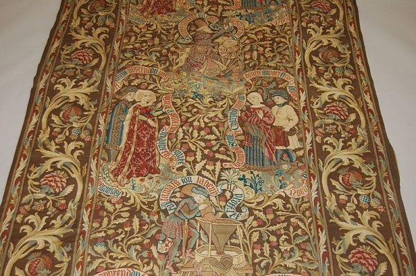 2007: A printed tapestry-effect gothic patterned curtai
