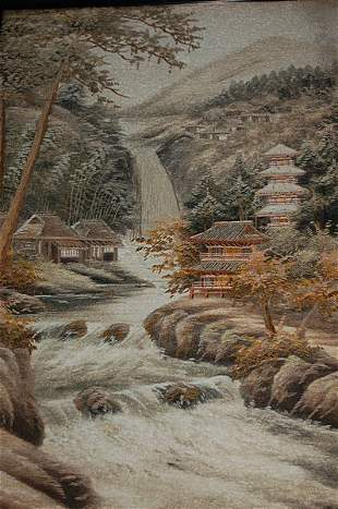 An embroidered landscape picture, Japanese, circa