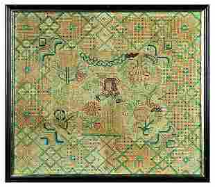 An embroidered panel, English circa 1650, worked