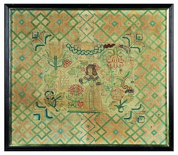 2013: An embroidered panel, English circa 1650, worked