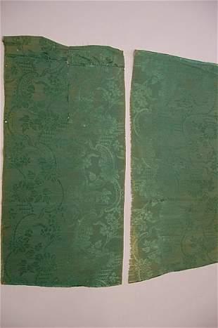 Nine lengths of green silk damask, 1740s pattern,