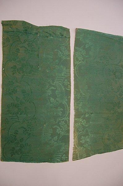 2016: Nine lengths of green silk damask, 1740s pattern,