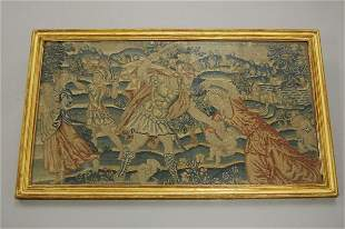 A tent stitch embroidered panel `The Massacre of