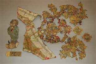 A quantity of `Or Nue' embroidered motifs, Italia