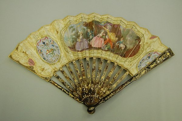 5: A painted silk fan, French, 1770s, with pierced tort