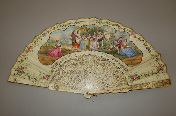 6: A printed silk fan, circa 1850, hand coloured vignet