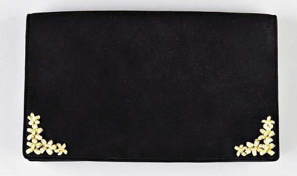 9: An Hermès black suede clutch bag, 1960s, stamped in
