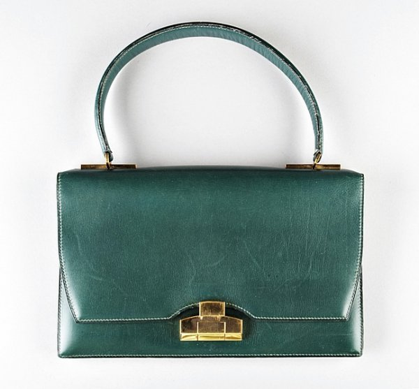 12: An Hermès forest-green leather handbag, early 1960s