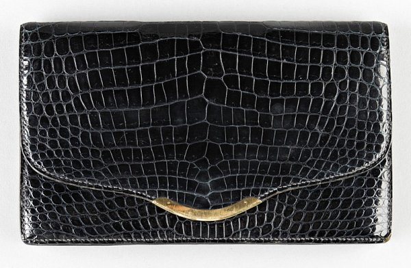 13: An Hermès midnight blue crocodile clutch bag circa