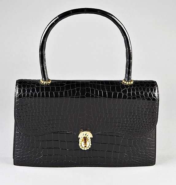 17: A fine Hermès black crocodile handbag, 1960s, Croco