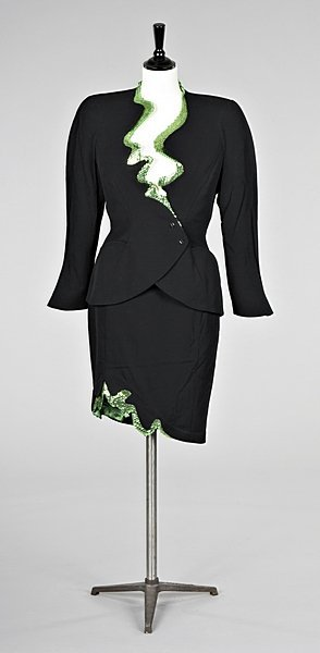 155: A Thierry Mugler green sequin trimmed evening suit