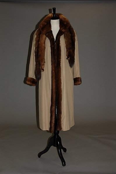 2018: A beige raincoat with brown mink lining, 1980s, c