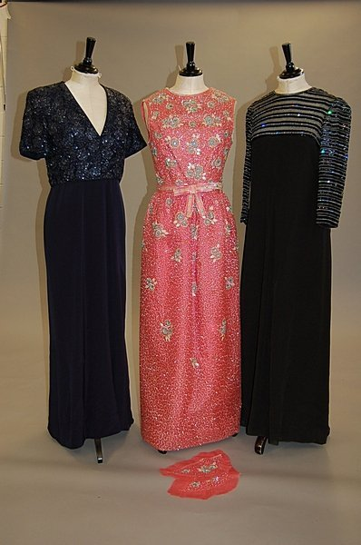 2021: Three beaded and sequinned evening gowns circa 19
