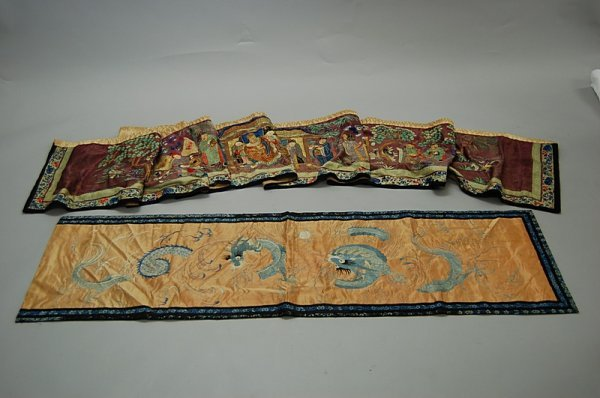 2197: Two embroidered wall panels, Chinese, late 19th c
